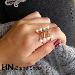 HN Brand-1 piece/Set New Beautiful Pearl crossing metal Rings Women Jewellery Christmas Gift gold diameter:1.8cm