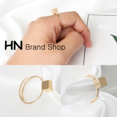 HN Brand-1 piece/Set New Beautiful Geometry square adjustable opening metal Rings Women Jewellery gold Adjustable
