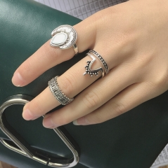HN Brand-4 piece/Set New Bohemia carved the moon metal Rings Women Jewellery Christmas Gift gold one size