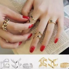 HN Brand-3 piece/Set New Beautiful Hollowed arrow Metal Rings Women Jewellery Christmas Gift gold one size