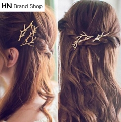 HN Brand-1 piece/Set New Antlers and branches alloy edge clamp Hairpin For Women Hair Jewellery Gift gold 1 3.9cm*6.3cm