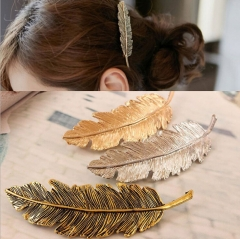 HN Brand-1 piece/Set New Feather leaf spring Alloy Hairpin For Women Hair Jewellery Accessories Gift gold 10cm*3cm