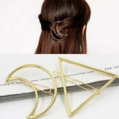 HN Brand-1 piece/Set New Triangle moon Alloy Hairpin For Women Hair Jewellery Accessories Gift gold Triangle one size