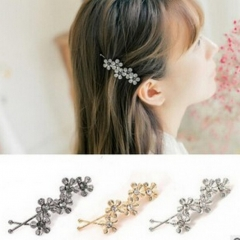 HN Brand-1 piece/Set New Flower leaves Alloy Hairpin For Women Hair Jewellery Accessories Gift gold 7.25cm*2.08cm