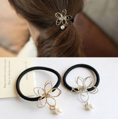 HN Brand-1 piece/Set New Hollow Flower Pearl rope Alloy Hairpin For Women Hair Jewellery Accessories gold 3.21cm