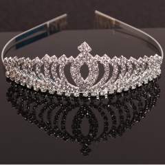 HN Brand-1 piece/Set New princess bride hair girl children headdress Diamond crown hair Jewellery silver length:11.59cm
