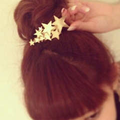 HN Brand-1 piece/Set New Stars rinka Alloy Hairpin For Women Hair Jewellery Accessories Gift gold one size