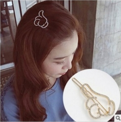 HN Brand-1 piece/Set New thumb points diamond  Alloy Hairpin For Women Hair Jewellery Accessories gold 3.62cm*6.52cm