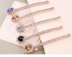 HN Brand-1 piece/Set New Rhinestone sunflower Pearl Diamonds Alloy Hairpin For Women Hair Jewellery Rose Gold As Picture 1