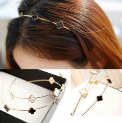 HN Brand-1 piece/Set New Gold Clover Flower Headband Alloy Hairpin For Women Hair Fashion Jewellery white Hoop diameter:12cm