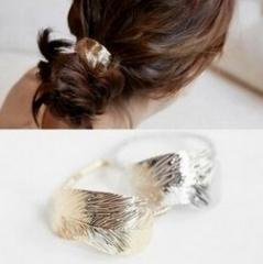 HN-1 piece/Set New Thin leaves Tousheng rubber ring Leaves hair headdress flower Women Jewellery gold one size