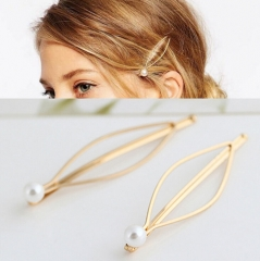 HN-1 piece/Set New All-match metal Pearl Europe and America wind accessories Women Hair Jewellery gold as picture