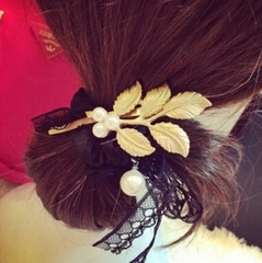 HN-1 piece/Set New Pearl metal leaf hairpin Europe and America wind accessories Women Hair Jewellery gold as picture