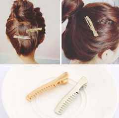 HN-1 piece/Set New Anti slip metal comb hair clip Europe and America wind accessories Women Hair gold as picture