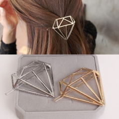 HN-1 piece/Set New Hollow alloy diamond shape Hair Barrette Fashion frog buckle clip Women hairpin gold as picture