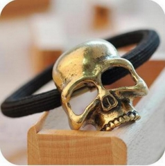 HN-1 piece/Set New Solid metal skull bone ring Elastic rope hairpin accessories Women Hair Jewellery gold as picture