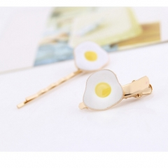 HN-1 piece/Set New Metal poached egg hairpin accessories Women Hair Jewellery Duckbill clip as picture
