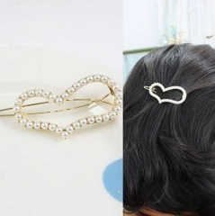 HN-1 piece/Set New Beautiful pearl peach edge clip Love hairpin accessories Women Hair Jewellery gold as picture