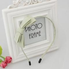 HN-1 piece/Set New High-grade fabric striped Headband Bow tie headband for girls Women Hair green as picture