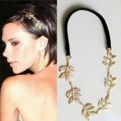 HN-1 piece/Set New Metal leaves olive branches modeling Elastic band accessories Women Jewellery gold as picture