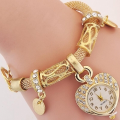 HN-1Pcs/Set New Ladies Bracelet Watches Heart Bracelet Watch For Women Jewellery Gift Gold