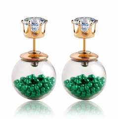 HN-1 Pair/Set New Fashion Beautiful Transparent hollow Pearl stud earring For Women Jewellery Gift Green as picture