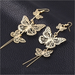 HN-1 Pair/Set New Beautiful Alloy Double bow Butterfly drop earring For Women Jewellery Gift gold as picture