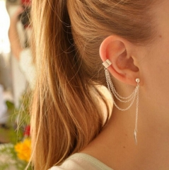 HN-1 Pcs/Set New Beautiful Metal leaf tassels Drop stud earrings For Women Jewellery Gift gold as picture