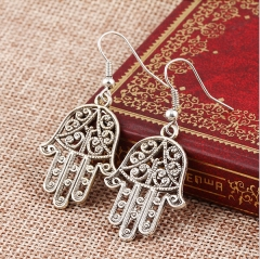 HN-1 Pair/Set New Beautiful Hollow Fatima's hand zircon Drops stud earrings For Women Jewellery Gift silver as picture