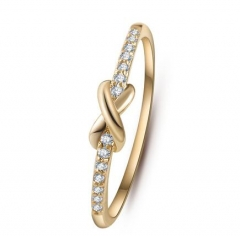 HN-1 piece/Set New Fashion 8 shape Cross luxury 18Kdiamond Wedding Rings Women Men Jewellery Gift gold as picture