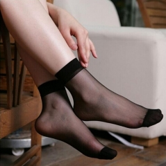 HN-1 Pair/Set New Ultrathin Ladies Transparent Invisible Crystal Socks Sexy Stockings For Women Gift Black Elastic