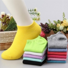 HN-1 Pair/Set New Fashion Pure Cotton Shallow Pure Color Boat Socks For Women Men Accessories Gifts Yellow Telescopic elastic