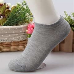 HN-1 Pair/Set New Fashion Pure Cotton Shallow Pure Color Boat Socks For Women Men Accessories Gifts Gray Telescopic elastic