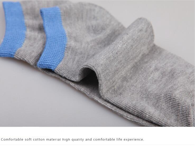 HN-1 Pair/Set New Fashion Socks For Men Pure Cotton Socks Breathable man Gift Gray+Yellow Telescopic elastic 7