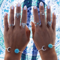 HN-6 piece/Set New Fashion Elephant Turquoise diamond Necklace Wedding Ring Women Men Jewellery Gift silver As Picture