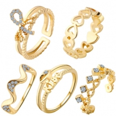 HN-5 piece/Set New Fashion Peach bow crown Crystal diamond Wedding Rings Women Men Jewellery Gift gold as picture