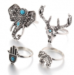 HN-4 piece/Set New Bohemia wind elephant deer unicorn Crystal Wedding Ring Women Men Jewellery Gift silver as picture