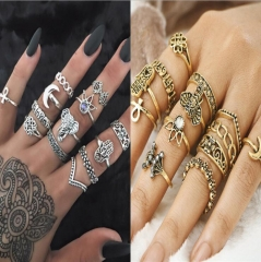 HN-13 piece/Set New Fashion Crown big palms elephants Crystal Wedding Ring Women Men Jewellery Gift gold as picture