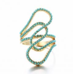 HN-1 piece/Set New Fashion Bohemia Turquoise Crystal luxury 18Kdiamond Wedding Rings Women Men Gift gold 6