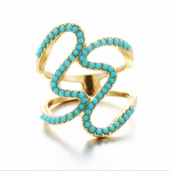 HN-1 piece/Set New Real Gold Bohemia Turquoise luxury 18Kdiamond Wedding Rings Women Men Gift gold 6