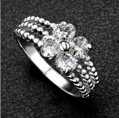 HN-1 piece/Set New Fashion Real Gold Clover zircon Wedding Rings Women Men Gift silver 6