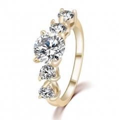 HN-1 piece/Set New Fashion Real Gold Crystal zircon diamond Wedding Rings Women Men Gift gold 6