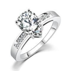 HN-1 piece/Set New Fashion Real Gold Crystal zircon luxury 18K diamond Wedding Rings Women Men Gift silver 6