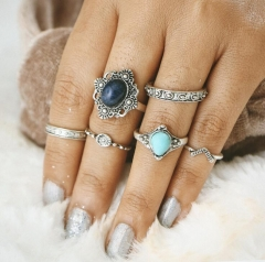 HN-6 piece/Set New Fashion Blue Individual love Alloy Crystal Wedding Ring Women Men Jewellery Gift silver as picture