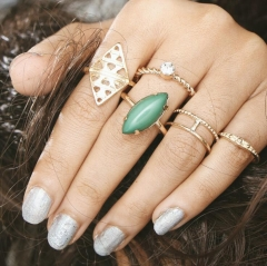 HN-6 piece/Set New Fashion Green Individual love Alloy Crystal Wedding Ring Women Men Jewellery Gift gold as picture