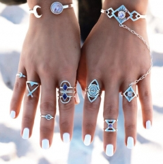 HN-8 piece/Set New Fashion Individual Blue love Alloy Crystal Wedding Ring Women Men Jewellery Gift silver as picture