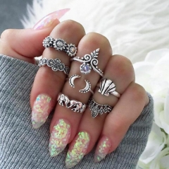 HN-7 piece/Set New Sunflower shell elephant Alloy Crystal Wedding Ring Women Men Jewellery Gift silver as picture