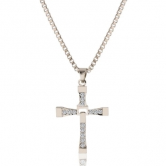 HN-1 Piece/Set New Simple Cross Alloy Jewelry Metal Necklaces Pendant Women And Men Jewellery Gift silver as picture