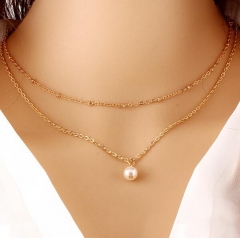 HN-1 Piece/Set New 2 layer Pearl Alloy Jewelry Metal Necklaces Pendant Women And Men Jewellery Gift gold as picture