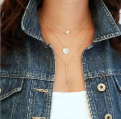 HN-1 Piece/Set New 3 layers of chain Alloy Necklaces Pendant Women And Men Jewellery Gift gold as picture